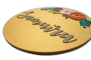 Round Flower Buttercup Name Plate