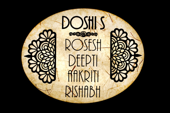 Round Flower Oval LED Name Plate