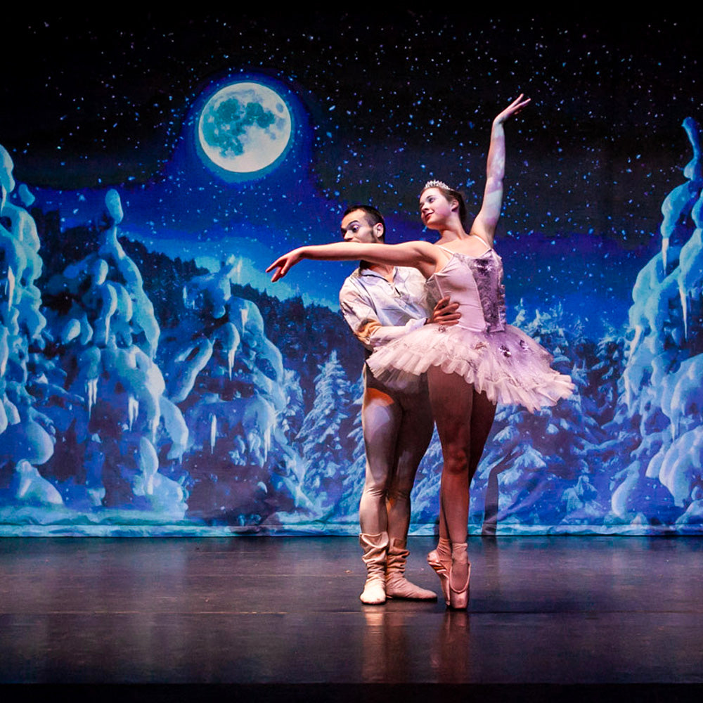 Nutcracker ballet production in New York using animated projection backdrops
