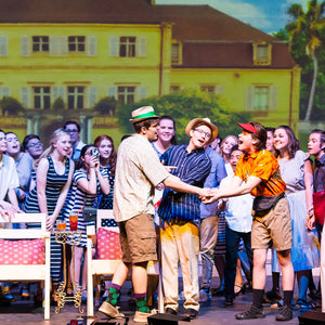 Dirty Rotten Scoundrels production with digital backdrops