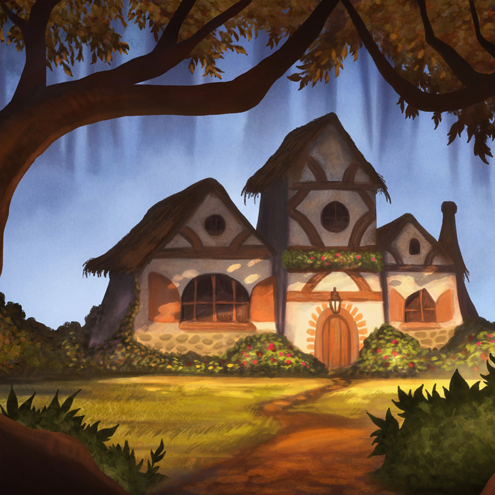 Fairy tale cottage digital projection backdrop for shows like Snow White, Hansel and Gretel, Into the Woods and more
