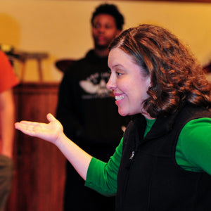 College theatre teacher and director Jarah Botello instructs her drama class