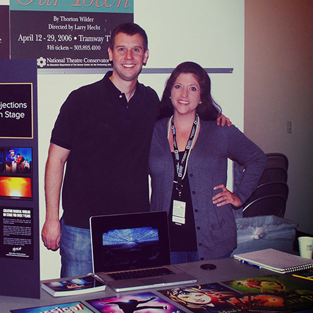 Middle school teacher Laurilea McDaniel and Theatre Avenue founder Mitch Stark at a Colorado theatre conference