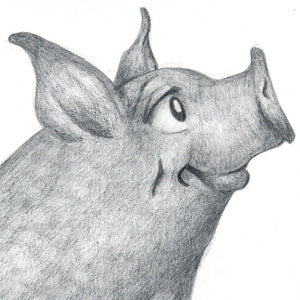 Early pencil drawing of Wilbur from Charlotte's Web for poster art by Theatre Avenue
