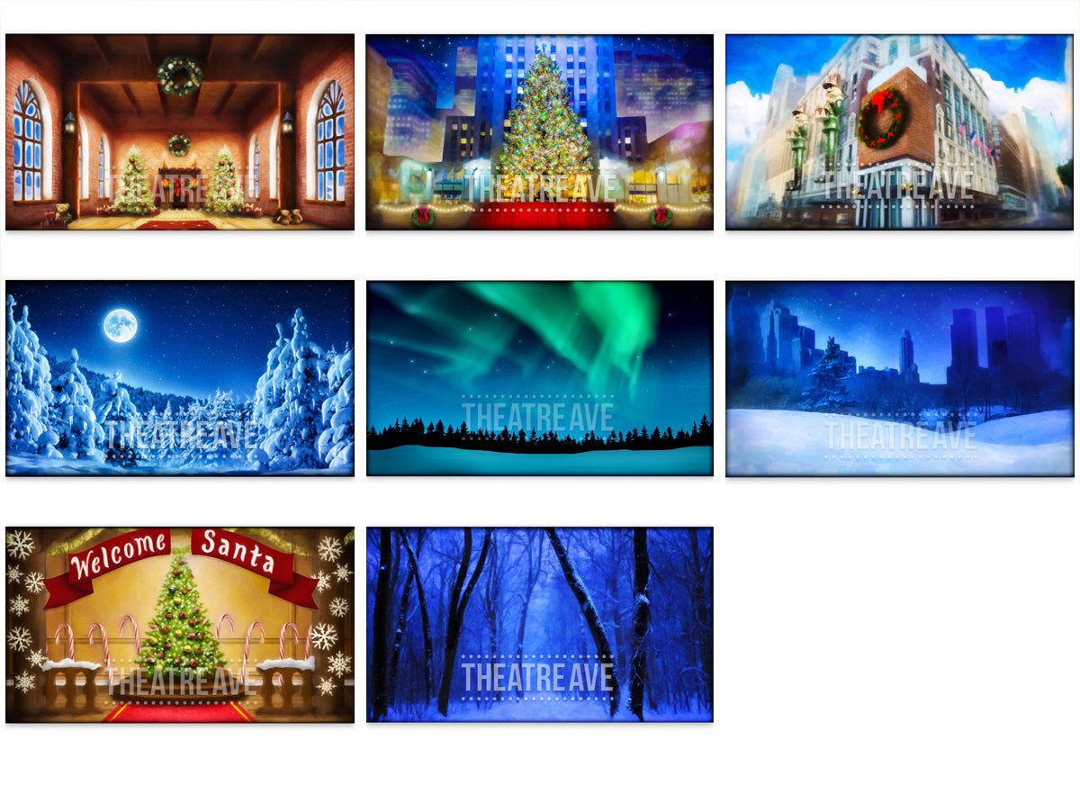 Collection of Elf digital projections by Theatre Avenue