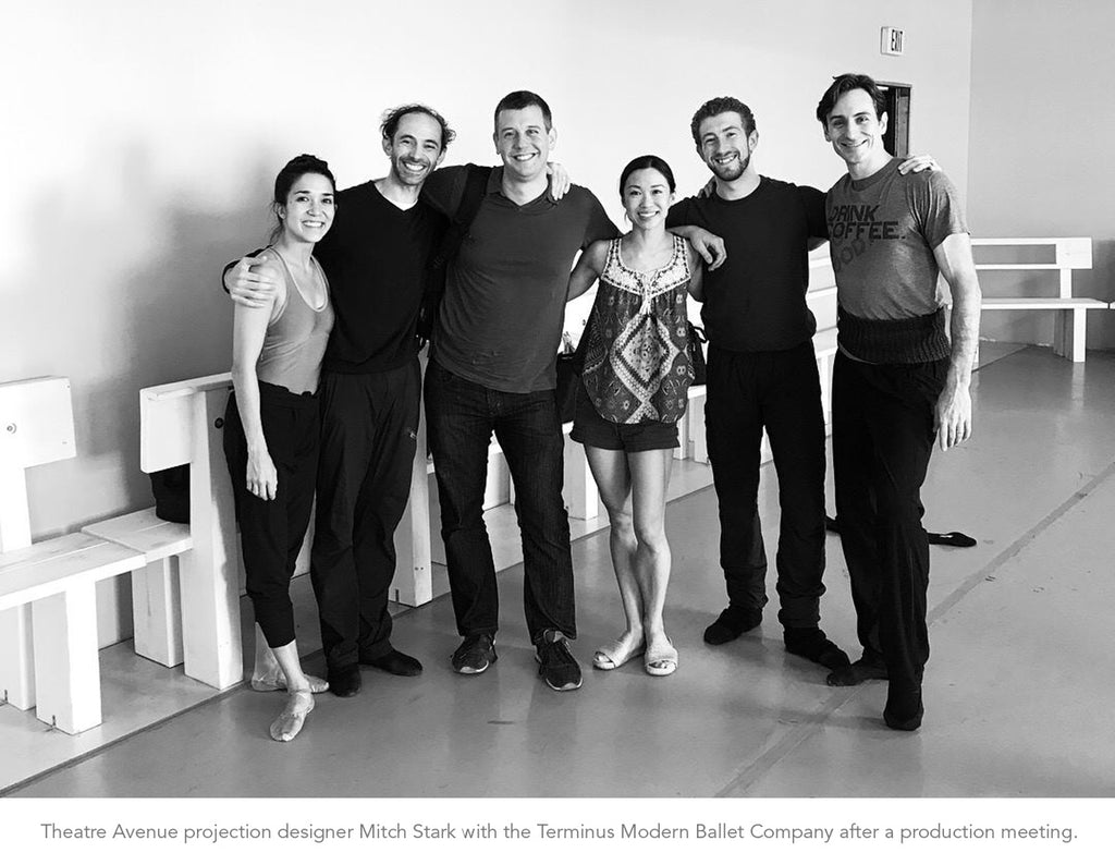 Group shot of projection designer Mitch Stark with Terminus Modern Ballet creators and dancers