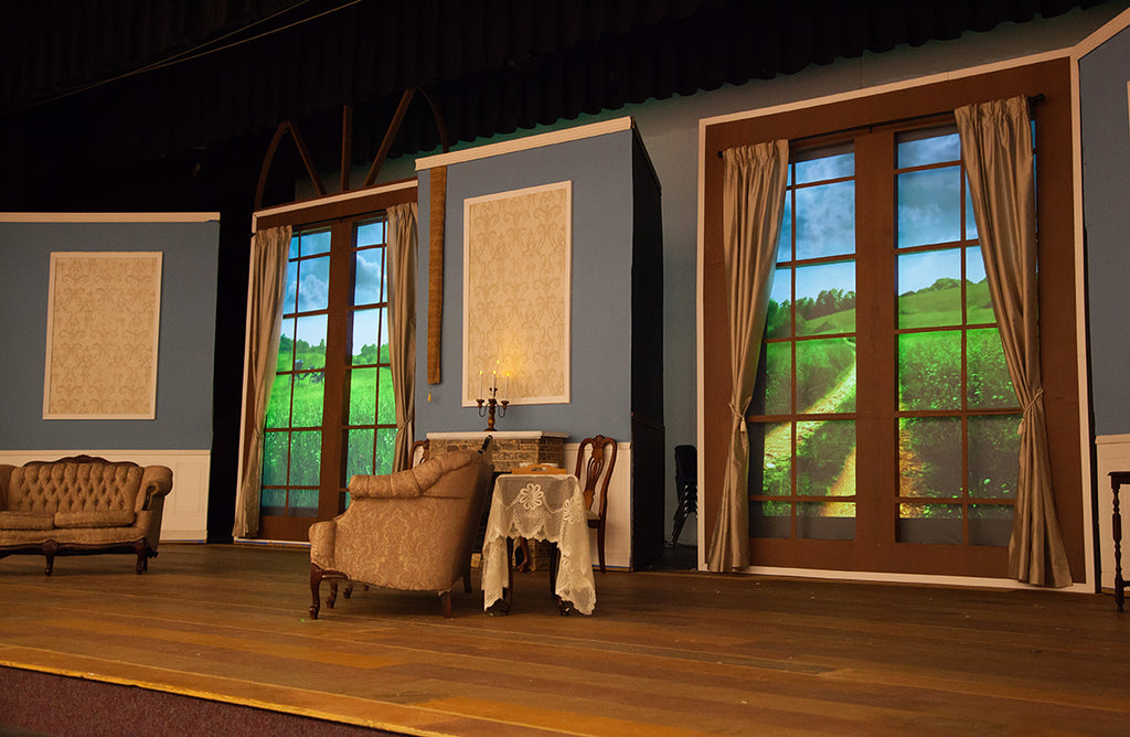 Set from Chantilly High production of Pride and Prejudice, featuring digital projections by Theatre Avenue