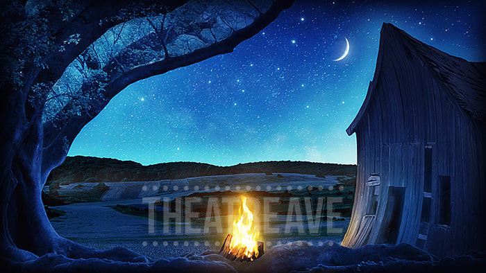 Campfire Night, a digital theatre projection backdrop perfect for shows like Shrek and Shrek Jr.