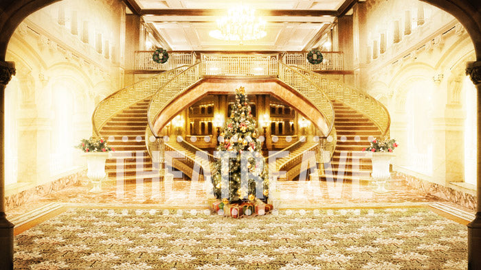 Christmas Mansion digital projection backdrop for shows like Annie