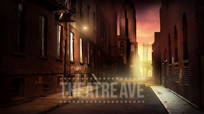 City Alley at Dusk, a digital theatre projection backdrop for shows like Annie and West Side Story