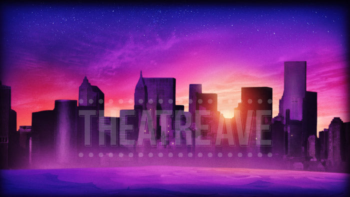 City at Sunset digital theatre projection for shows like Elf