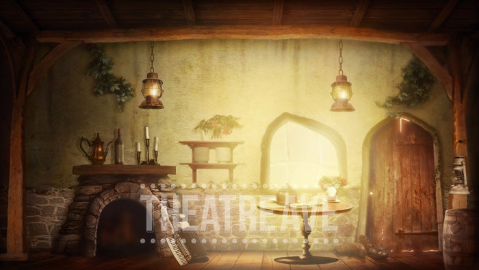 Old Cottage Room, a digital projection backdrop perfect for theatre and ballet shows like Into the Woods, Sleepy Hollow, Cinderella, and beyond