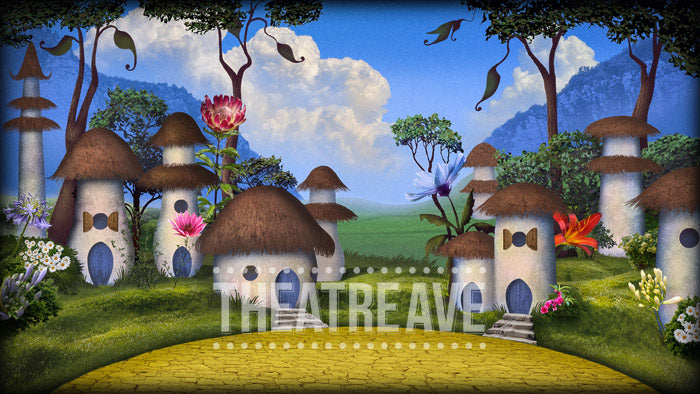 Munchkinland, a digital theatre projection for The Wizard of Oz