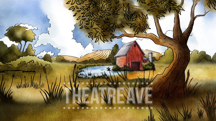 Old Farm cartoon style digital projection backdrop for theatre shows like HONK
