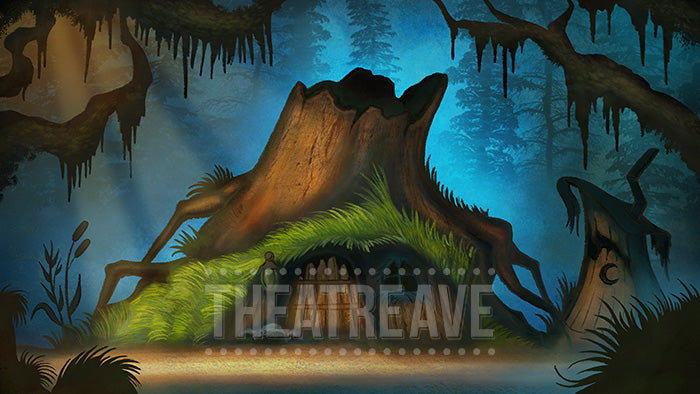 Swamp Hut, a digital projection backdrop for theatre, ballet and dance shows like Shrek and beyond