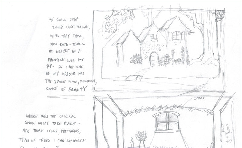 Snow White projection backdrop sketch