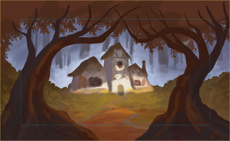 Early digital painting for cottage projection backdrop