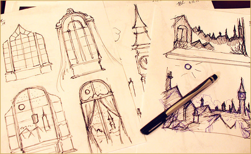 Sketchbook pages filled with ideas for Peter Pan projection backdrops