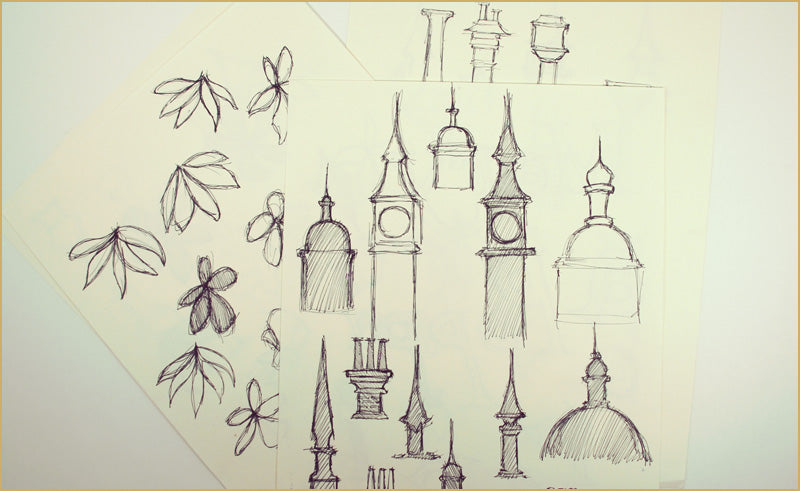 Ink sketches for Peter Pan theatre projections