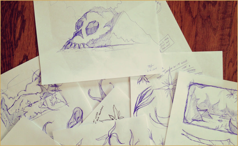 Early Skull Island digital projection backdrop sketches