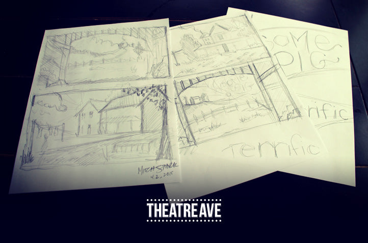 Early pencil sketches for Charlotte's Web digital projection backdrops