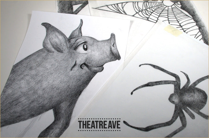 Poster design sketches for Charlotte's Web by Theatre Avenue