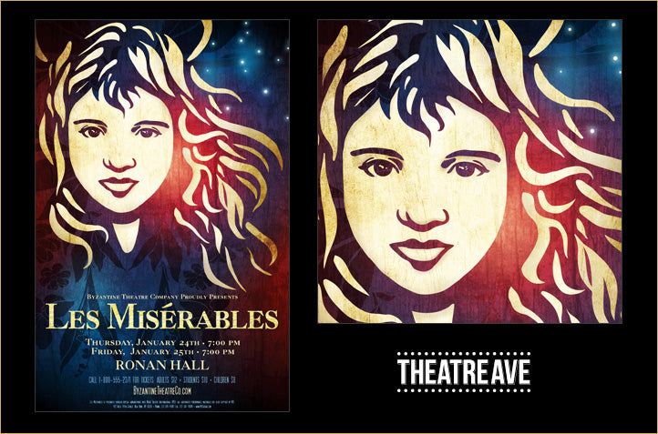 Two samples from original Les Miz poster art by designer Mitch Stark of Theatre Avenue