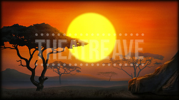 African Sunset digital projection backdrop for theatre and ballet productions of Lion King, Madagascar, and beyond.