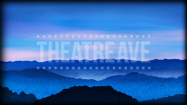 Bluegrass Mountains Dusk, a digital projection backdrop well suited for theatre, ballet and dance performances like Bright Star, Big Fish, and Sound of Music