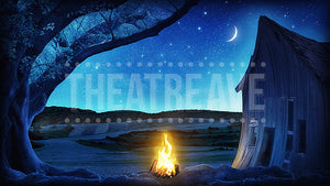Campfire at Night, a digital theatre projection backdrop perfect for shows like Shrek, HONK! and beyond.