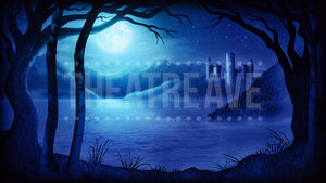 Castle Lake Blue, a digital projection backdrop perfect for shows like Midsummer Night's Dream, Swan Lake and more