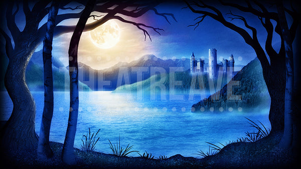 Castle Lake at Night, a digital theatre projection perfect for shows like Swan Lake, Beauty and the Beast, and Snow White