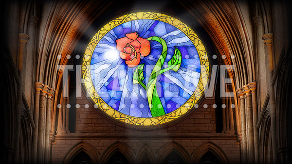 Castle Rose Window, a theater projection backdrop perfect for shows like Beauty and the Beast