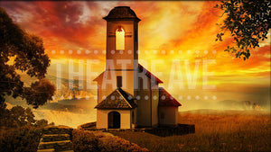 Chapel at Sunset, a Mamma Mia projection backdrop by Theatre Avenue.