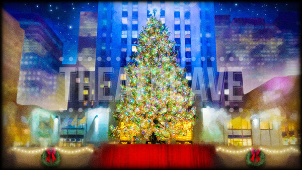 Christmas Tree Center, a digital theatre projection backdrop great for shows like Elf the Musical, White Christmas, Miracle on 34th Street and beyond.