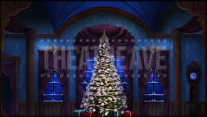 Christmas Parlor at Night, a digital projection backdrop perfect for theatre, ballet, and dance shows like Nutcracker