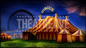 Circus Night, a digital theatre projection backdrop perfect for shows like Big Fish, Annie Get Your Gun, and Tuck Everlasting