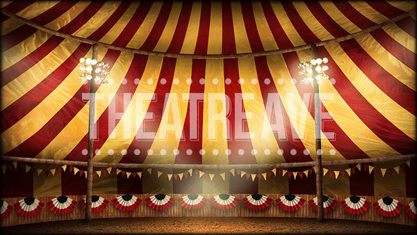 Circus Tent, a digital theatre projection backdrop perfect for shows like Big Fish and Annie Get Your Gun