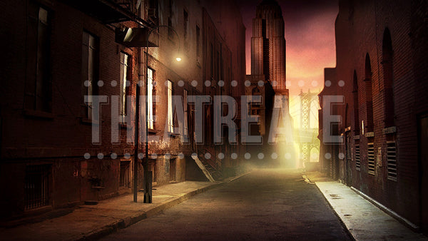 City Alley at Dusk, a digital theatre projection backdrop perfect for shows like Annie, West Side Story, and 42nd Street