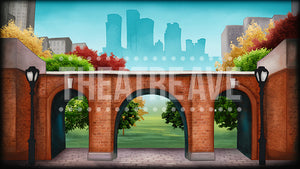 City Park in Fall, a cartoon style digital projection backdrop perfect for shows like Madagascar