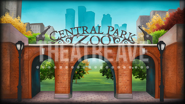 City Zoo, a digital theatre projection backdrop perfect for shows like Madagascar and Elf the Musical