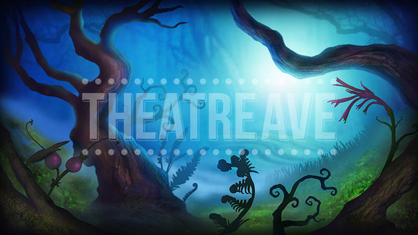 Dark Forest Projection, a digital projection backdrop designed for shows like Alice in Wonderland, Wizard of Oz and Big Fish