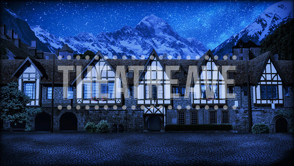 European Street at Night, a digital theatre projection backdrop designed for shows like Beauty and the Beast, Sound of Music and Into the Woods