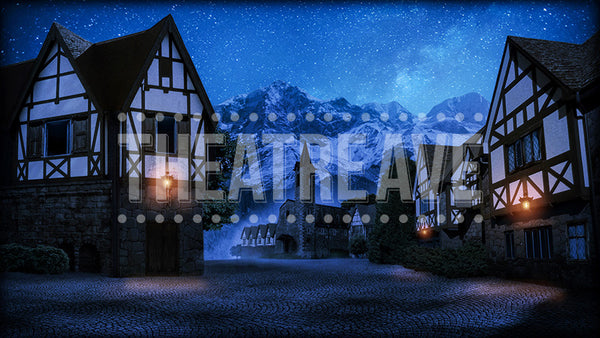 European Village at Night, a digital theatre projection backdrop perfect for shows like Beauty and the Beast