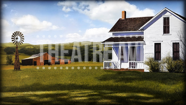 Farmhouse, a digital theatre projection backdrop designed for shows like Charlotte's Web, HONK, and Wizard of Oz