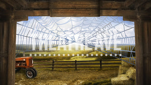 Friendly Barn with Web, a digital theater projection drop, perfect for stage shows like Charlotte's Web