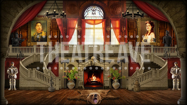 Great Hall, an Addams Family projection backdrop by Theatre Avenue.