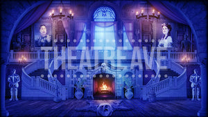 Great Hall at Night, an Addams Family digital projection backdrop by Theatre Avenue.
