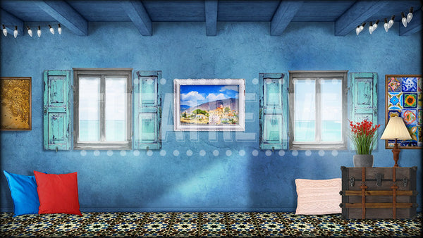 Greek Room II, a Mamma Mia projection backdrop by Theatre Avenue, perfect, for Tanya and Rosie's room.