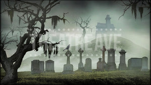 Haunted Graveyard, an Addams Family projection backdrop by Theatre Avenue.
